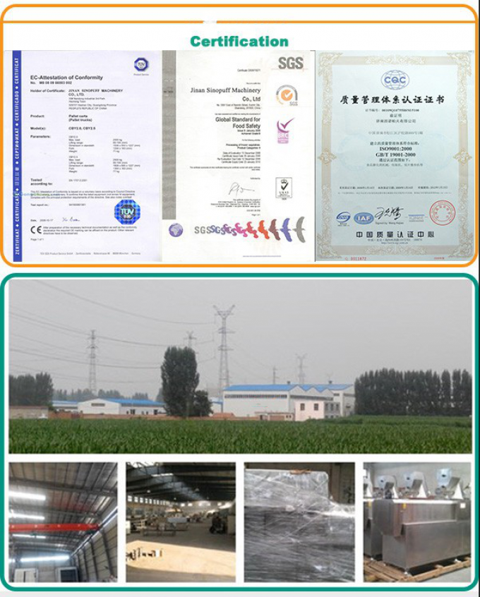 certification of Full Automatic 100-1000kg/h  Creamy Snack/Corn Snack Biscuit Making Machine For Puff Snack/Corn Snack