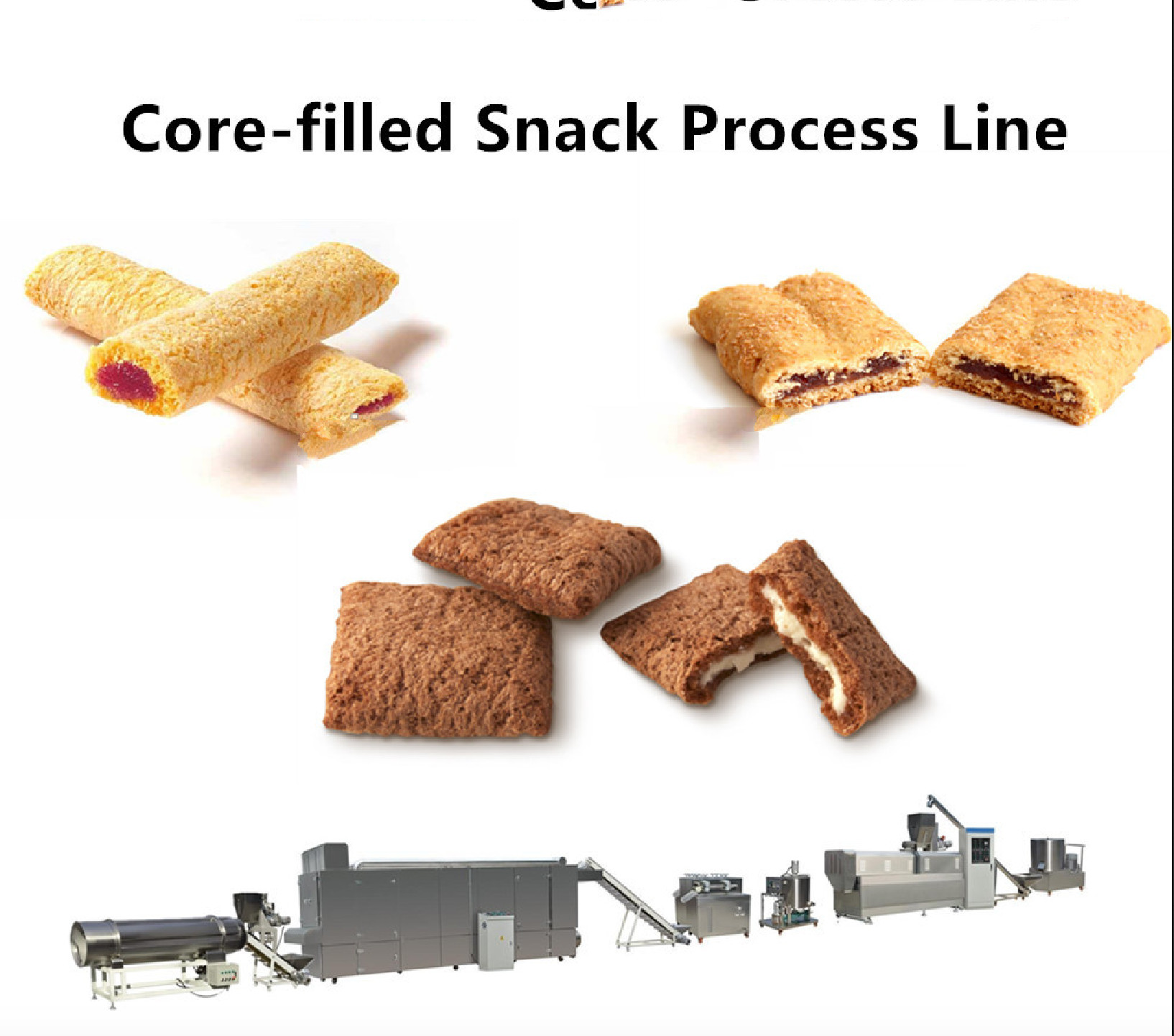 100~500 kg/Hr Snack Food Production Line Chocolate Ball / Chocolate Pillow Filled Puff