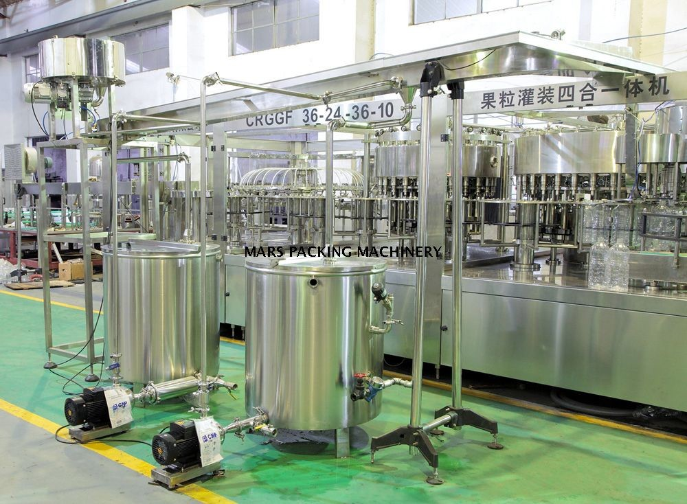 2000 – 18000 BPH Automatic Water Filling Machine , Commercial Fruit Juice Production Line